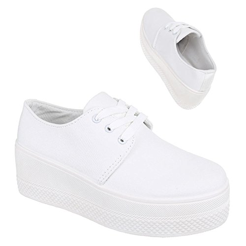 Ital-Design Low-Top Sneaker Damen Schuhe Low-Top Sneakers Schnürsenkel Freizeitschuhe Weiß