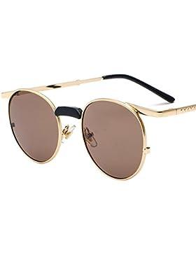 Aoligei Retro mujer gafas de sol gafas de sol de personalidad de color gafas de marco pequeño de cara redonda