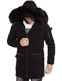 Gov Denim - Parka hiver intégralement doublé et à capuche fourrure noir