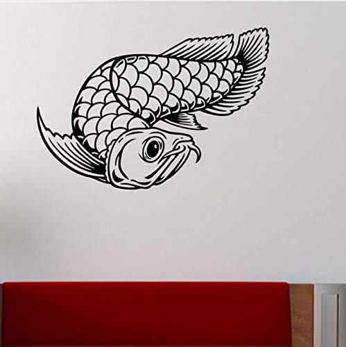 Asiatische Arowana Fisch Wandaufkleber Wohnkultur Wohnzimmer Schlafzimmer Wand Applikation Vinyl Kunst Wandbild 64x44cm -