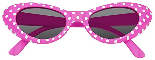 Pink Grease Kostüm Damen - Cat Eye Brille Sandy mit Punkten - Pink