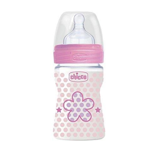 color rosa Chicco Wellbeing Biber/ón con tetina de silicona y flujo normal para beb/é de 0 meses en adelante 150 ml