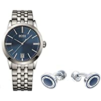 Hugo Boss 1513135 Men's Bracelet Strap Watch and Cufflink Set (Silver/Blue)