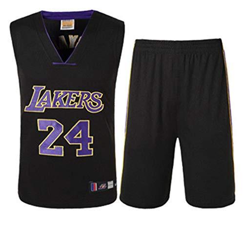 Basport Lakers No. 24 Kobe Bryant NBA Basketball-Anzug-Set für Herren,T-Black,XL