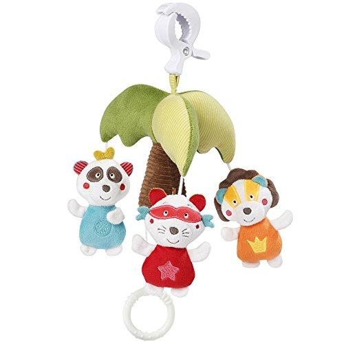 Fehn 067118 Mini-Musik-Mobile Palme/Spieluhr-Mobile für Unterwegs zum Befestigen an Kinderwagen oder Babyschale - für Babys und Kleinkinder ab 0+ Monaten