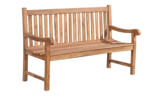 CLP Teakholz-Gartenbank KENTUCKY mit Lehne I Holzbank für den Garten I Sitzbank mit Armlehnen | In verschiedenen Größen wählbar 200x60 cm