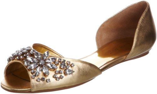 41f8Zzxtt9L Nine West Womens Bouycrazy Gold Open Toe Flats 3807261109 4 UK