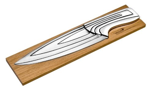 Deglon 8240000-V Coffret 4 Couteaux Meeting sur Support en Chêne de Bourgogne Inox