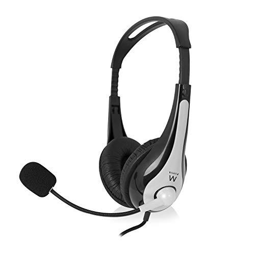 Ewent Ew3562 Cuffia Professionale con Microfono per PC con Controllo Volume Notebook Laptop Doppio Jack 3.5 Auricolari Imbottiti Cavo 2 m