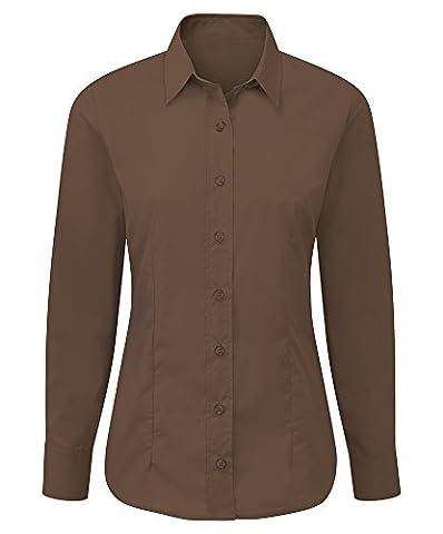 Alexandra Stc-nf90C1–18facile d'entretien pour femme Chemise à manches longues, UNI, 65% polyester, 35% coton, taille 18, Chocolat