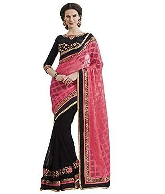 Beautiful Chiffon Pink And Black Saree with Blouse