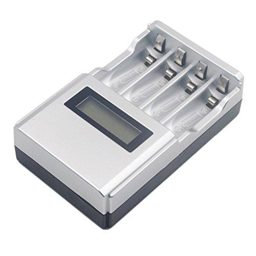Wokee Wiederaufladbare AA und AAA Ladegerät UK Stecker, Stunde SUPER SCHNELL LCD AA/AAA Netzladegerät NiMh oder NiCad, mit 4 AA NiMH Akkus Aa Nicad