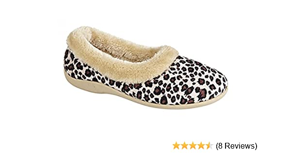 TPR Rubber Sole Warm DUNLOP PENNY Ladies Ocelot Velour Collar Slippers Soft