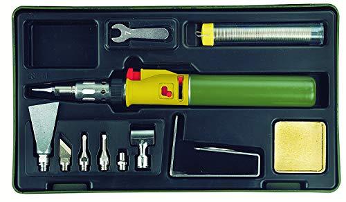 Proxxon 28144 Lötkolben/MICROFLAM Gaslötset MGS, mit umfangreichem Zubehör, zum Arbeiten mit offener Flamme oder über Katalysator mit Aufsätzen, Flammtemperaturen bis zu 1.300°C