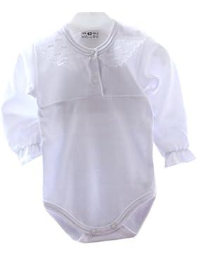Baby Body mit festlichem Kragen Weiß festlich Taufe
