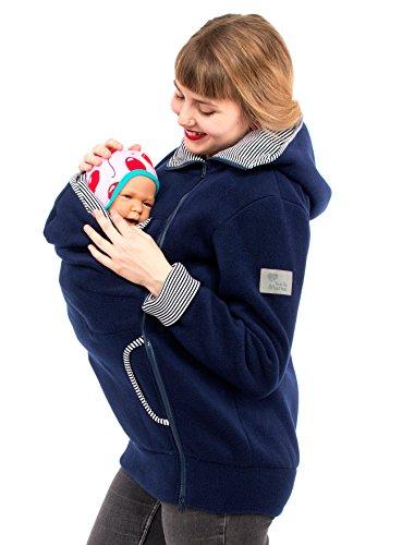 Viva la Mama Damen Tragejacke Fleece Winterjacke Mama Baby Fleecepullover für Tragetuch Umstandsjacke - AHOI Marine blau Streifen - XXL - 4