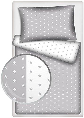 Kinder Wendebettwäsche Stars grau / Stars weiss 2-tlg. 100% Baumwolle 40x60 + 100x135 cm mit Reißverschluss
