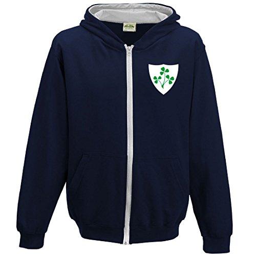Union Heather T-shirt (Print Me A Shirt Kinder Kapuzenpullover mit irischem Wappen und Reißverschluss Gr. 91 cm, French-Navy-and-Heather-Grey)