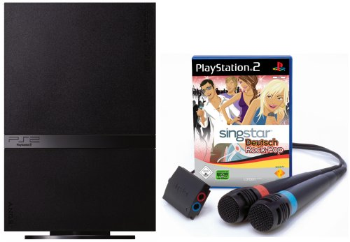 PlayStation 2 - PS2 Konsole, black inkl. SingStar Deutsch Rock/Pop + 2 Mikrofone (Ps2 Video Game Bundle)
