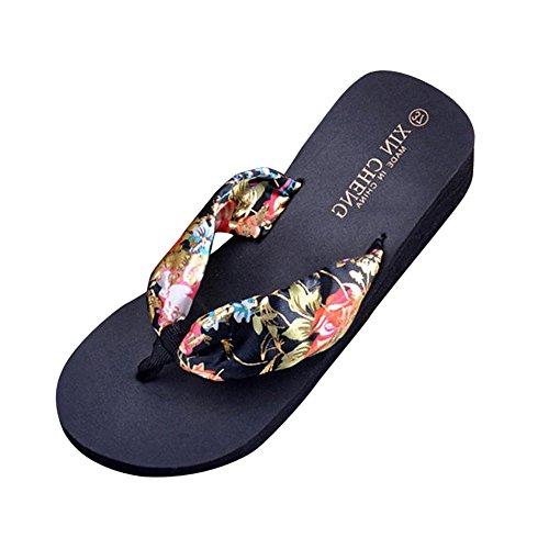 DEELIN Sandalen, Schuhe Damen Sommer Bohemia Floral Beach Sandalen Keil Plattform Thongs Hausschuhe Flip Flops Pailletten Rutschfest Steigung Muffin Slope (38, Schwarz)
