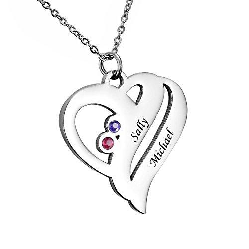 HooAMI Personalisierte Familienmitgliedernkette - Halskette mit Steinen - Geburtssteinkette - mit Gravur 2 Namen (2 Namen B)