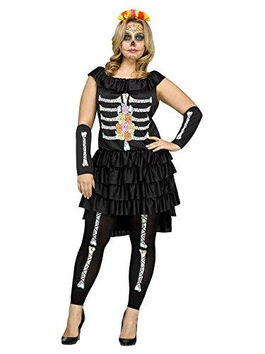 (Generique - Skelett Damen-Kostüm Dia de Los Muertos XL)
