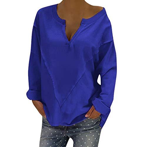GreatestPAK Damen Pullover Einfarbig Lose Schlank Rundhals Sweatshirt Lässig Plus Größe V-Ausschnitt Patchwork Langarm Bluse, Blau, ()