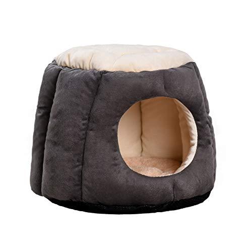 Kreatives Haustier Nest mit Doppeltem Verwendungszweck Warm Dog Cat Nest & Mat Häuser Bed Fleece Rest Bag Mat für Hunde, Katzen und Kaninchen - Dunkelgrau/S -
