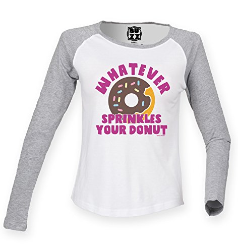 Damen Raglan Baseball T Shirt Whatever sprinkles yor DONUT Womens von Buzz Shirts (Shirt Raglan-Ärmel Baseball)