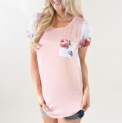 T-Shirt Damen Rosennie Blume Gestreift Bluse Mit Pocket Rosa