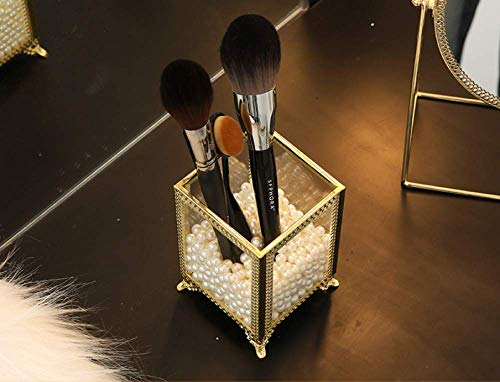 Make-up-Pinsel-Organizer, Aus Transparentem Acryl, Staubdicht, Mit Deckel Und Perlen, Um Ihre Arbeitsfläche Zu Schminken Weiß,C40 - Kratzfeste Arbeitsfläche