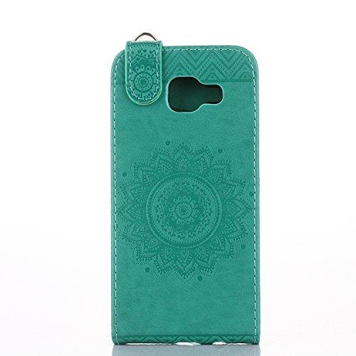 Samsung Galaxy A3 2016 Hülle Leder Tasche Flip Cover Galaxy A3 2016 Wallet Case Alfort Stilvoll Handycover Braun Mandala Blumen Muster PU Ledercase Brieftasche Handyhülle für Samsung Galaxy A3 ( 2016  Grün