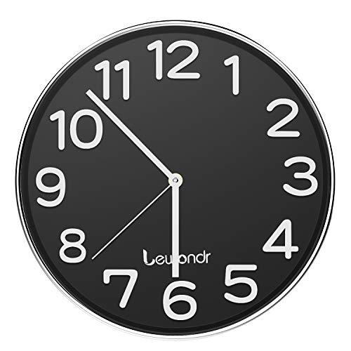 Lewondr Reloj de Pared, Reloj Silencioso Redondo de 12 Pulgadas, Reloj Moderno...