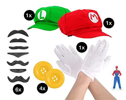 Set Mario Super Zubehör Kostüm Accessoire mit Handschuhe in weiß, 6x Schnurrbart Bart Luigi und Mütze Cap Schildmütze rot und grün für Fasching Karneval zum Verkleiden für Herren und - Super Mario Und Luigi Kostüm