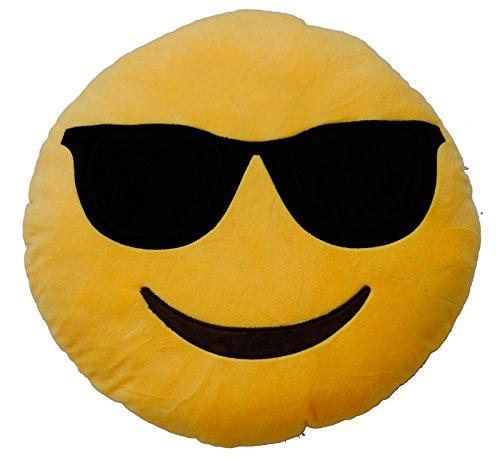 Emoticonworld Kissen, Motiv: Emoticon mit Sonnenbrille, 32 cm