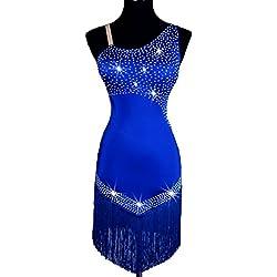 Wangmei Profesional Competencia Vestido de baile Latino Para Mujeres Collar Oblicuo Escotado por Detrás Borla Autocultivo Baile Latino Disfraz de Rendimiento, treasure blue, M