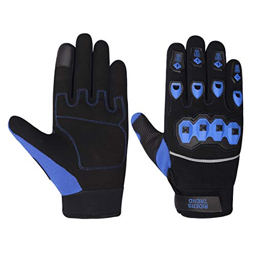 Riders Trend 10010109 Cross Country/Motocross Full Finger Motorcycle Racing Cycling Gloves, Guanti Uomo, Black/Royal Blue, L