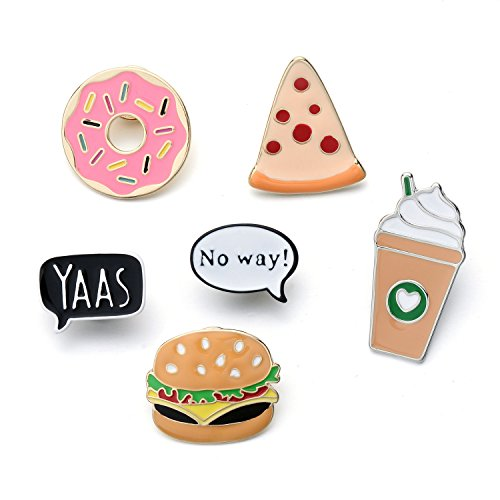 6 PC / Satz netter Schnellimbiß-Krapfen-Pizza-Burger-Kaffee-Emaille-Revers-Pin-Satz