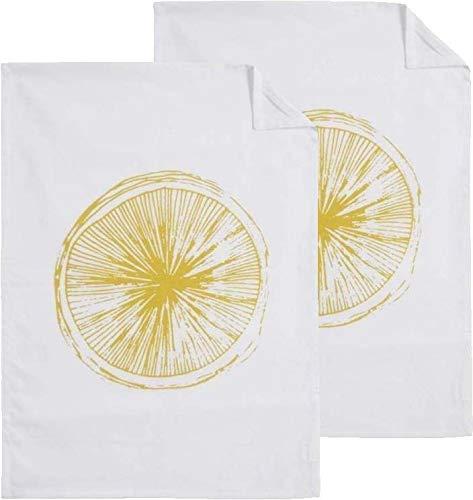 Lot de 2 torchons de cuisine Citron