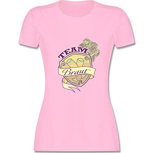 JGA Junggesellinnenabschied - Team Braut Schild - tailliertes Premium T-Shirt mit Rundhalsausschnitt für Damen Rosa