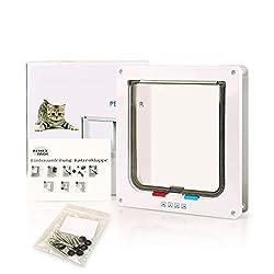 BIGWING Style-Gatera Puerta Cuadrada Automática para Gato/Perro Acceso Seguridad para Mascotas, 24,00 x 23,50 x 5,50CM, Blanco