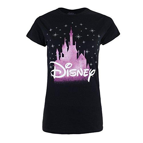 Disney Damen Castle T-Shirt, Schwarz (Black BLK), 40(Hersteller Größe: Large) (Schwarz T-shirt Erwachsene Kurzarm)