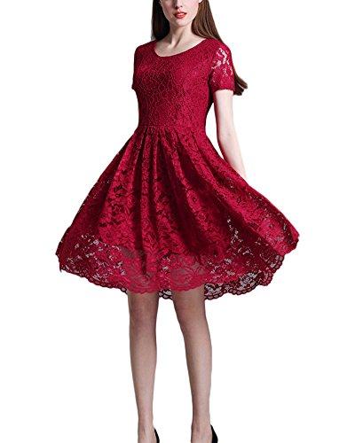 Femme Rétro Vintage Dentelle Florale la Robe de Mariée une Ligne Empire Cocktail Midi Robe Vin Rouge