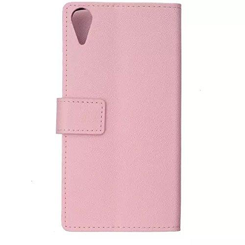 Kas Texture Pattern Horizontal Flip Stand Case Solide Farbe Leder Tasche Cover mit Karte Cash Slots für HTC Desire 828 ( Color : Red , Size : HTC Desire 828 ) Pink