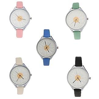 Domybest-Damen-Freizeit-runde-Sonnenblume-Muster-Mode-Uhr-Quarz-Armbanduhr