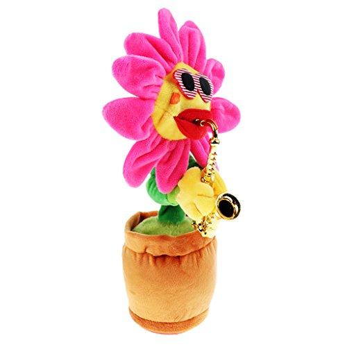 Homyl Singende Blumen Tanzende Sonnenblumen Tischdeko Geschenk für Kinder Erwachsener - Rote Blätter