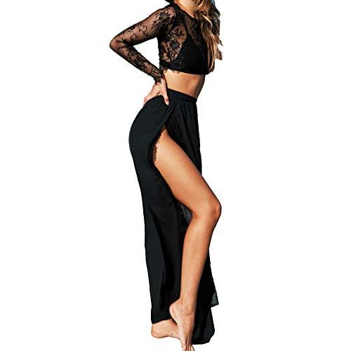 Damen Sexy Zwei mit Stücke Kleider Kurz Hohl Tops Langarm-T-Shirt Lang Split Rock Sommer Spitzen Strandrock Lässiger Zweiteiliger Anzug - Langes Kleid-rock-tops