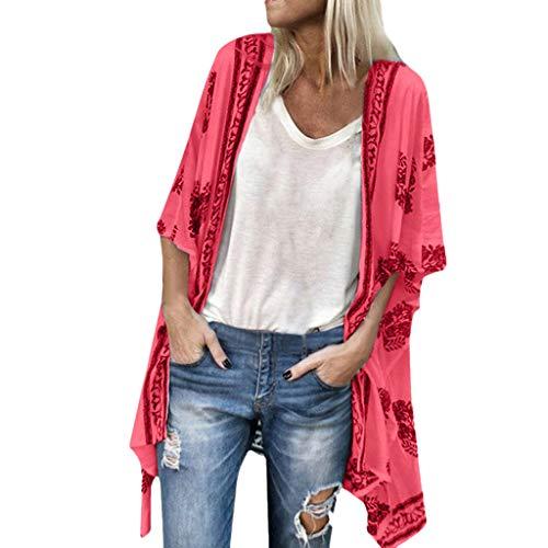 Fenverk Damen Bikini Cover Up Boho Strandkleid Kimono Chiffon Cardigan Sommer 3/4 äRmel Leicht Tuch Lange Mit Blumen Muster(rot,M) (Ärmel Lange Tuch)