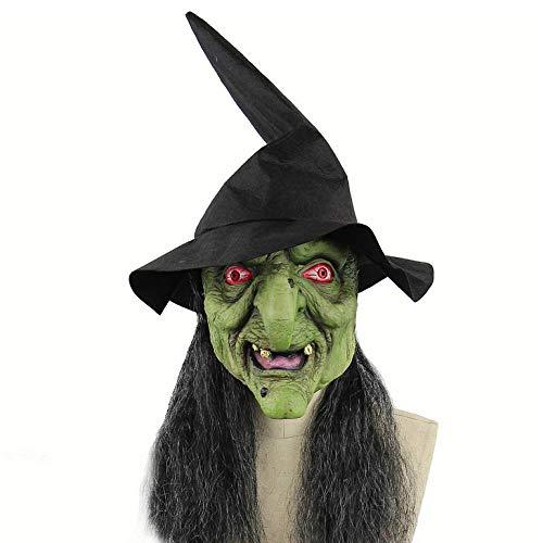 wnddm Hexenmaske mit Hut & Haarkostüm Grüne Hexentheater-Qualitäts-Make-up-Maske Gruselige Halloween-Maske Kostüm Gruselige Clown-Maske