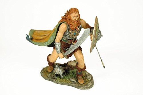 """Figura Decorativa """"Vikingo con Escudo"""". Figuras Resina. 19 x 20 x 13 cm."""